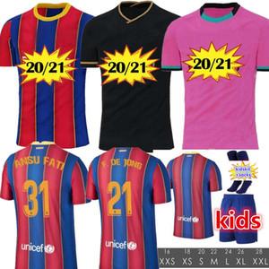 NOVO 20 21 Futebol Jersey camisas de futebol Ansu FATI F.DE JONG 17 GRIEZMANN 2020 2021 COUTINHO SUAREZ MALCOM PIQUE VIDAL Barcelona