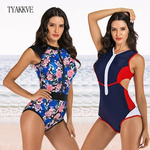 2020 One Piece Swimsuit Women Swimwear Push Up Monokini Bodysuit Zip Rash Guard Swimsuit Female Sport Bathing Suit BeachWear XXL T200708