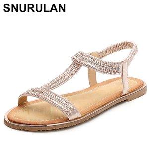SNURULAN 2020 New European Fashion Floral Sandals Rhinestone Beads Luxury Diamond High Quality Ladies Sandals Plus Size z36