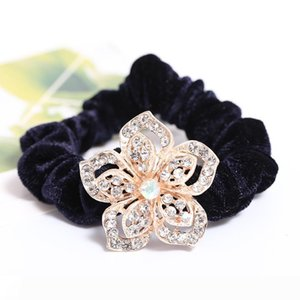 Korean fashion flowers crystal cloth velvet elastic hairband ornaments solid hair pony tails holder headdress