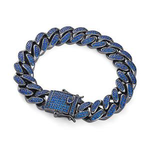 Explosion models 18K gold micro-inlay CZ zircon Cuba bracelet men's fashion jewelry European and American hip-hop Cuban chain black gold jew