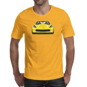 Fashion Mens Yellow 1970 Corvette car pattern yellow Round neck t shirt Cool Sport shirts Race Cars Vintage Indy SVRA logo Chevy Jake
