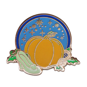 Cinderella Pumpkin Carriage and Crystal Shoe Pin Fantasy Fairytale Jewelry