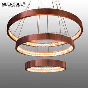 Restoran Altın Avize Aydınlatma Çember Luminaires Lustres Ev Aydınlatma Lambası Asma Çağdaş Modern LED Kolye Işıklar Akrilik