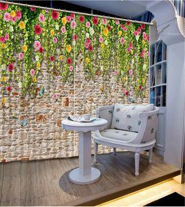 Euporean 3D Шторы настенные цветы занавес окна 3D занавес для гостиной Кухня гардины