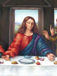 ritratto di Leonardo Da Vinci Ultima Cena di Gesù Cristo, la decorazione domestica dipinta a mano HD Stampa olio su tela dipinto arte della parete della tela di Immagini 200801