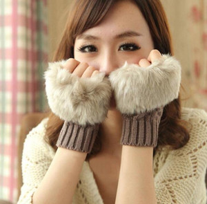 Autumn and winter warm gloves ladies half finger plush thick knitted gloves fingerless touch screen gloves