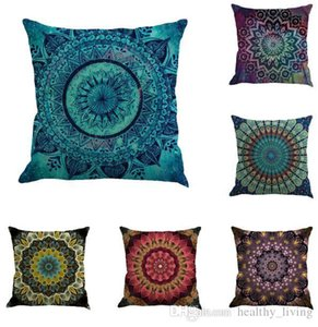 Mandala Indian Cushion Cover Bohemia Geometric Pillowcase Linen 16 Styles Chair Seat Car Sofa Decorative Square 18 inch Pillowcase 028