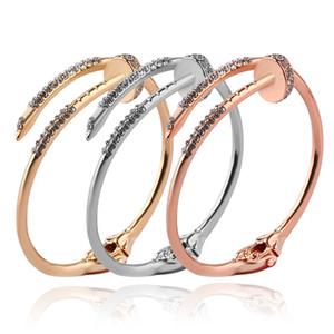 Pulsera de las mujeres de los brazaletes de las señoras de moda femenina Moda geométrica de uñas brazaletes abiertos del manguito boda joyería ps1273 Aniversario del regalo del partido