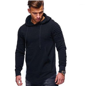 Mens Striped Fold Solid Hoodies Man Spring Pleated Slim Pocket Loose Hooded Neck Sweatshirts Men Fashion Pullover Clothes