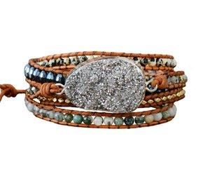 Women Bracelets Unique Natural Stones Rhinestones Gilded Druzy Charm 5 Layers Leather Wrap Bracelets Boho Bracelet Dropship CX200730