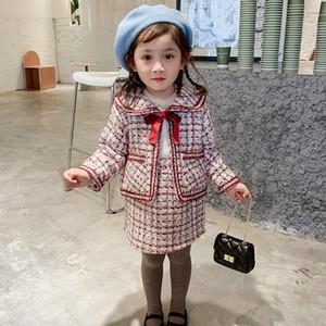 2020 Осень Новое Прибытие Девушки Мода Твид 2 штуки Костюм Пальто + Юбка Детская Принцесса Наборы с Луком