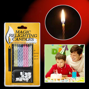 10PCS SET Props Candles Birthday Party Invincible Magic Props Relighting Candles Christmas Party Trick Funny Decoration April Fool