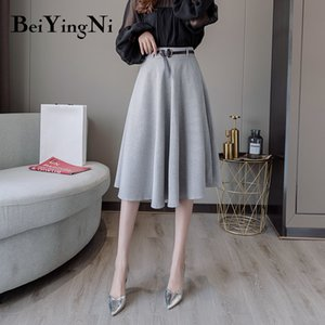 Beiyingni Vintage Skirt Women Belt A Line Swing Elegant KoreanHigh Waist Office Ladies Skirts Casual Spring Autumn Skirt Female T200712