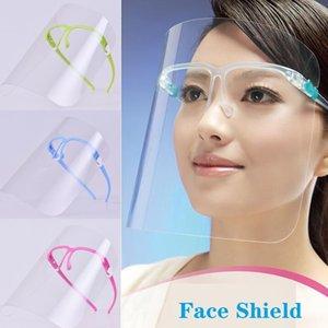 PET Face Shield mit Glashalter Sicherheitsölspritzwasserschutz Schutz Gesicht Abdeckung transparente Gesichtsglasmaske Visor Designer Masken DHA413