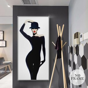 Mordern Gorgeous Woman Wearing Black Dress Canvas Painting Sex Model Posters Wall Art for Living Room Home Decor (No Frame)