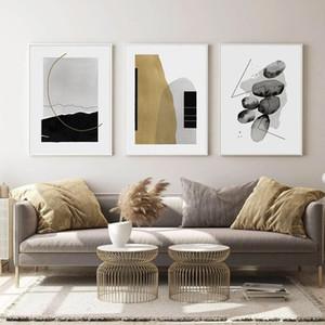 3 Panneaux Boho Résumé géométrique beige gris taupe à la mode Couleurs peinture sur toile Poster Prints Wall Art Photos Salon Home Decor