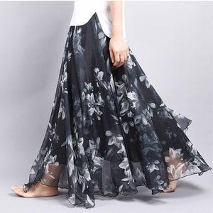 Brand Long Skirt Print Light Fabric Chiffon Summer Clothes Saia Beach Bohemian Maxi Skirts Women High Waist Casual Vestidos Sexy T200803
