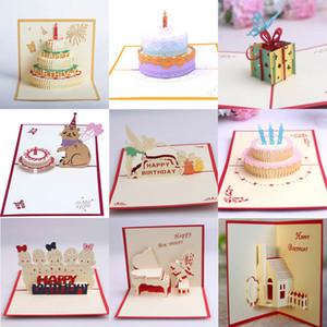 10 stili 3D della torta di compleanno di pop up regalo di benedizione Biglietti d'auguri d'artigianato creativo buon compleanno di trasporto