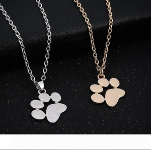 wholesale Cute animal dog paw small pendant necklace accessories gold silver women's jewelry