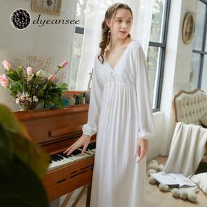 Женские спящие одежды Dyeansee Vintage White Long Nightgown Женщины Ночные платья Princess Домашнее платье Хлопок V-образным вырезом