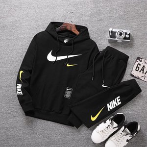 Eşofman Takımı Moda Kapüşonlular Erkekler Spor İki Adet kapşonlu + Pantolon Erkek Spor Salonları Seti Günlük Spor Giyim Suit Üst