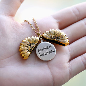 Sie sind meine Sonnenschein-Sonnenblume Halskette für Frauen Rose Gold-Silber-Farben-langkettige Sun Flower Weibliche Halskette Schmuck