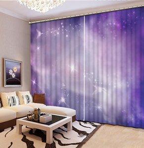Purple Star Sky curtains star 3D Curtains Living Room Bedroom Drapes Curtains Custom size Blackout curtain
