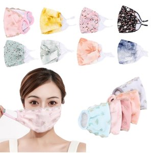33 styles Spring and Summer Thin Ice Silk Sunscreen Mouth Mask Washable Reuse Face Mask Flower Designer Masks
