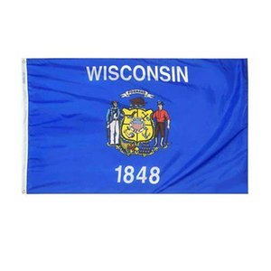 Wisconsin Flag Bundesstaat USA Banner 3x5 FT 90x150cm State Flag Festival-Party-Geschenk 100D Polyester Indoor Outdoor Printed Heißer Verkauf