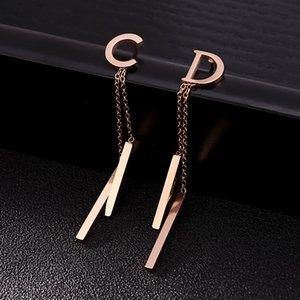 Luxury Designer Letter earrings Tassel Long Dangling Drop earrings Fashion Letter Earrings Bar Party Wedding Jewelry