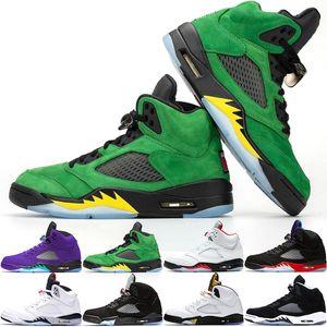Nike Air Jordan 5 Retro Laney 5s Hommes Chaussures De Basket-ball 5 Race International Flight Bleu Daim Blanc Ciment OG Métallique Noir Designer Sport Sneaker Taille 41-47