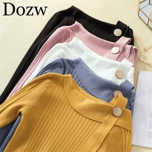 Mulheres Casual pulôver Moda irregular Long Neck Sleeve Slim Fit Top Solid Color Jumper Feminino Outono camisola de malha C83l #