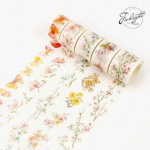 8 M length Watercolor Flowers Scenery Washi Tape Adhesive Tape DIY Scrapbooking Sticker Label Masking 2016 m4bC#
