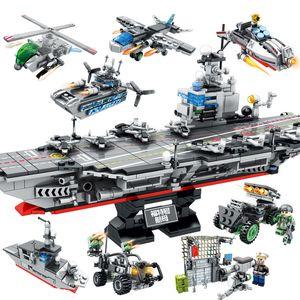8 in 1 Militär Building Blocks Modell Assembled Hubschrauber Battleship Auto-Träger-DIY Spielzeug Brick Kinder