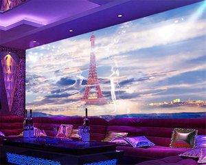 Bar KTV Dekorasyon Duvar Kağıdı Eyfel Kulesi Hotel Bar Nightclub KTV Kutusu İşleme Arkaplan Duvar HD Wallpaper 3D
