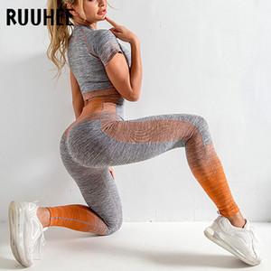 RUUHEE senza saldatura Set Yoga manica lunga Donne Sport Fitness abbigliamento sportivo abbigliamento Bassiera Camicie vita alta delle ghette allenamento Pantaloni