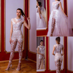 See Through Lace Jumpsuit Bridal Wedding Dress With Detachable Train Jewel Neck Beach Wedding Gowns Pant Suit robe de mariée