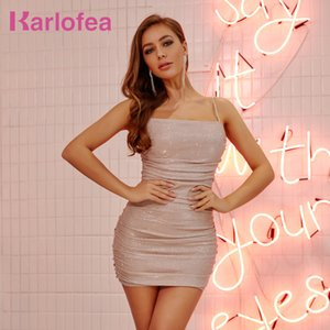 Karlofea 2020 Dress Women Summer Everyday Wear Chic Glitter Ruched Mini Dress Sexy Club Night Out Party Diamonds Strap Vestidos T200710