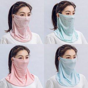 Cheap donne sciarpa magica Sciarpe comodo chiffon di seta Fazzoletto antivento esterna di fronte mezzo antipolvere parasole Copertura AHB333