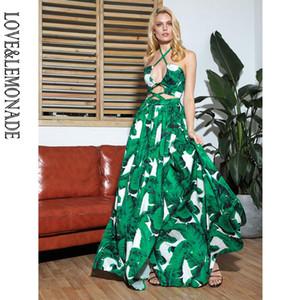 LOVELEMONADE Sexy Cut Out Croix sangles ouvertes Feuilles blanches Big Maxi robe de plage imprimé LM81811-1