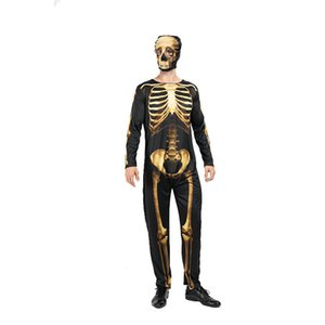 Cosplay Halloween Costume d'or squelette avec masque à manches longues Casual Skinny Thème Costume Mode unisexe Vêtements de festival