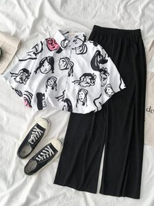 Net Red Fashion Two-piece Suit Summer 2020 New Women's Korean Version Short Sleeve Shirt Hanging Wide Leg Pants Two Piece Set