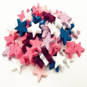 New five-pointed star Pendant silicone Diy silica gel Jewelry necklace with silicone scattered beads DIY baby gum pendant