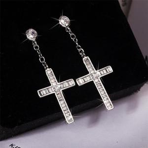2020 New Arrival Sparkling Luxury Jewelry 925 Sterling Silver Cross Earring Full Princess Cut White Topaz Drop Women Dangle Earring Gift