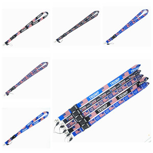 100PCS Trump Funny Keychain Cartoon Phone Lanyard US Flag Women Fashion Strap Neck Lanyards for ID Card Phone Keys Party Favor RRA3372