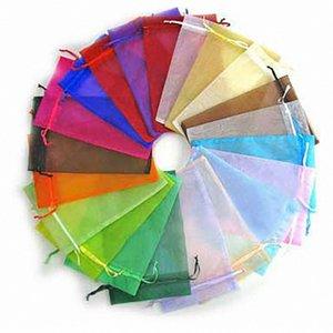 MeterMall color sólido de alta densidad de organza con asas para la joyería del embalaje del regalo YYPL #