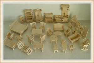 Wholesale DIY 1:16 Mini Furniture Kids Educational Dollhouse Furniture Set,3D Woodcraft Puzzle Model,Brinquedos BcZN#