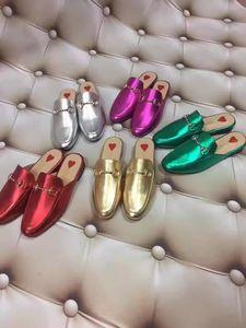 Ting2594 9819 Metal Leather Slippers Casual Handmade Walking Tennis Sandals Slippers Mules Slides Thongs