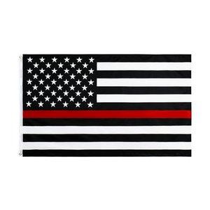 3 di 5 ft poliestere stati uniti d'America sottile linea rossa bandiera vigile del fuoco